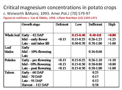 Critical concentrations of magnesium